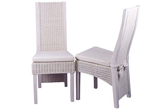 2er Set Rattansessel weiß massivholz Pinie Rattan Rattanstuhl Rattanrohr Stuhl