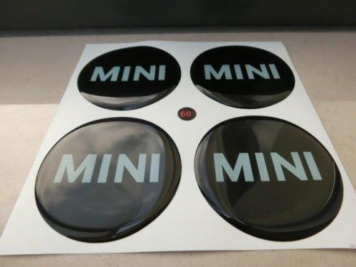 Lot de 4 stickers 60mm cache-moyeux pour Mini Cooper en résine, effet 3D