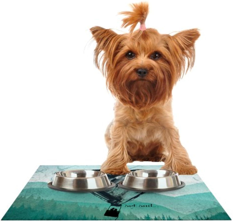 Kess InHouse Nick Atkinson Heart Set Sail  Feeding Mat for Pet Bowl, 18 by 13Inch