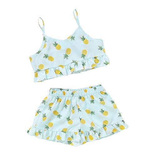 L&ieserram Florali Vestidos niña estampado fruta piña 2 piezas de camiseta bolero sin mangas con encaje + pantalones cortos Primaveral Verano Otoño turquesa 3-4 Años