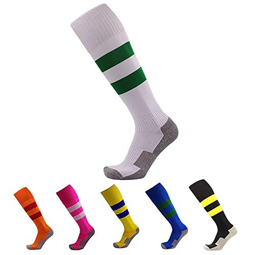 6 Pairs Little Boys and Grils Athletic Sports Crew Socks Soccer Basketball Classic Knee High Tube socks