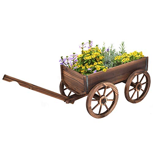 HAPPYGRILL Wood Wagon Flower Planter Pot Stand with Wheels for Garden Patio Backyard