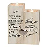 SDLAJOLLA Heart-Shaped Candle Holder, Wooden Candle Tealight Holder, to My Bestie - Thank You for Being My Unbiological Sister Wooden Heart Shaped Couple Candle Holder