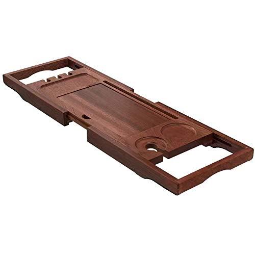 Bandejas para bañera Puente de Carrito de Baño de Bambú Marrón, Bandejas de Bañera para El Hogar con Soporte para Tableta/Soporte para Jabón/Reposapiés, Accesorios para Baño con Lados Extensibles