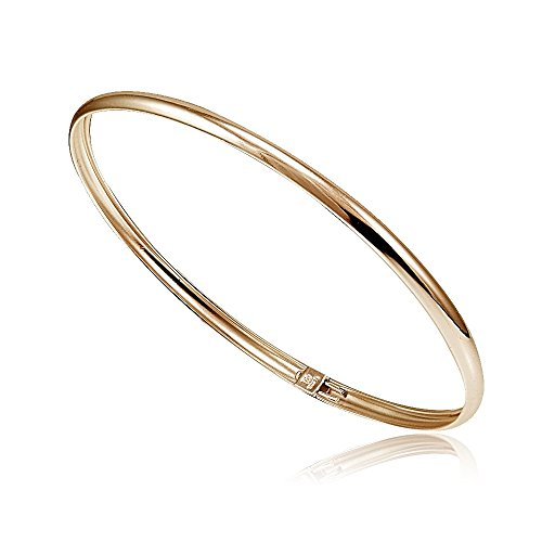 Hoops & Loops - Sterling Silver High Polished Flexible Bangle Bracelet | Rose Gold Flash Plated