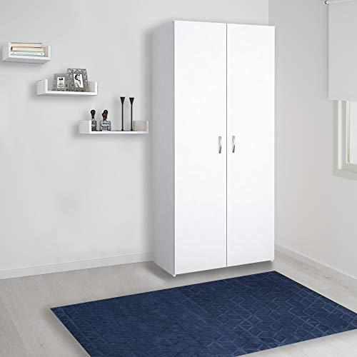 Homemania Armadio, Truciolare, Metallo e Plastica, Bianco, 80 x 47 x 180 cm