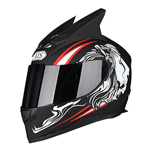 OUTO Abnehmbarer Helm Motorrad Outdoor Riding Schwarz Anti-Fog Spiegel Integralhelm Schwarz Rot Devil Horn (Farbe : Black Dragon Devil, größe : L)