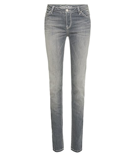 SOCCX Damen Slim Fit Jeans HE:DI mit ausgeblichenen Partien