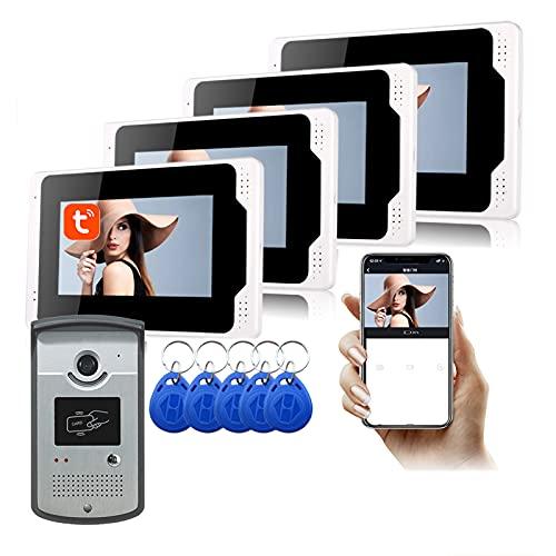 Timbre con video WiFi, APP Tuya de 7 pulgadas, desbloqueo de videoportero 1080P, intercomunicador, cámara de visión nocturna + 4 monitores