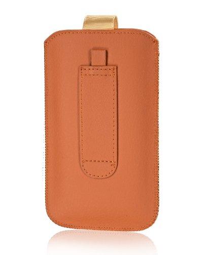 Handytasche Circle für Huawei Honor 3C H30-U10 Handy Etui Schutz Hülle Cover Slim Hülle orange mit Klettverschluss