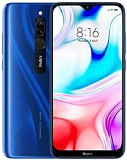 هاتف ريدمي 8 ثنائي الشريحة لون أزرق بذاكرة داخلية سعة 64 جيجابايت وذاكرة رام سعة 4 جيجابايت، ويدعم تقنية 4G LTE