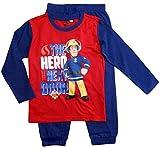 Feuerwehrmann Sam Schlafanzug Jungen Lang Pyjama (Blau-Rot, 110-116)
