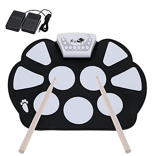 Elektronische Trommel, ammoon Tragbar Roll Up E-Drum Kit Faltbare Perkussion Schlagzeug mit 2 Fußped und Drum Sticks für Anfänger und Kinder-Schwarz
