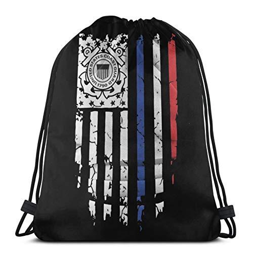 fenrris65 Drawstring Bag Us Coast Guard American Flag 22 String Backpack Terylene for Men Women