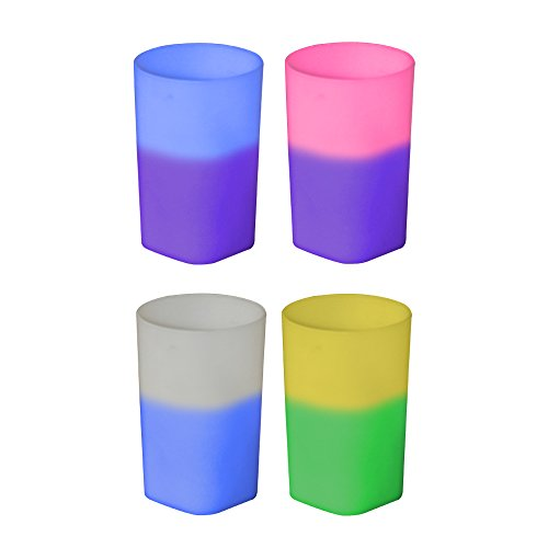 2oz Color Changing Mood Plastic Shot Glass, Unique square bottom, BPA FREE and reusable, round top design and 1 oz , Set of 12, Assorted Colors - MADE IN USA