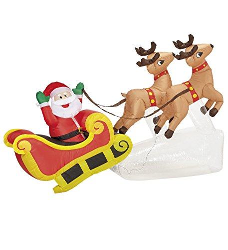 Import Babbo Natale su Slitta con Renne Decorazione Natalizia Luminosa Gonfiabile