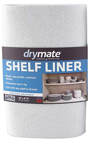 Drymate Premium Shelf Liner and Drawer Liner (Set of 2), (12' x 59'), Non Adhesive, Durable, Slip Resistant – Absorbent/Waterproof – for Drawers, Shelves and Cabinets (USA Made)