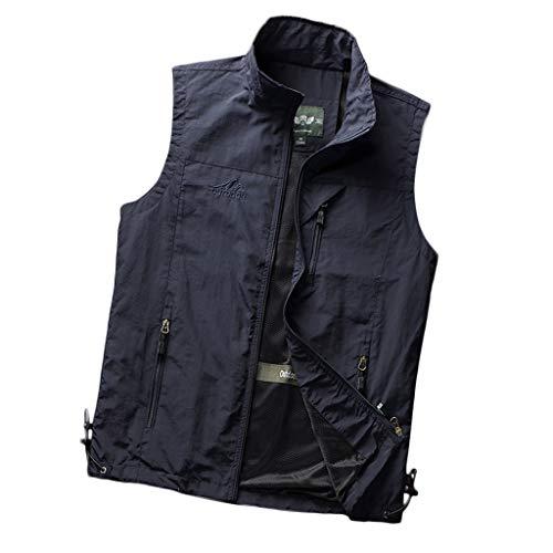 LIQIN Gilet Gilet Outdoor fotoreporter Uomo Gilet Sottile Sezione Personalizzata Tooling Casual Pesca Allentata Maglia degli Uomini di Traspirante Vest (Color : Navy, Size : XL)