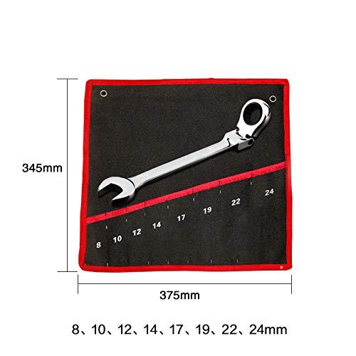 FLMQA Juego de llaves para autos, Juego de llaves de trinquete, Juego de herramientas de llaves, Llave universal, Llave de trinquete de cabeza flexible para reparación de autos, 8 piezas