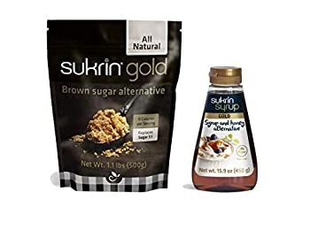 Sukrin Gold and Syrup Bundle - Low Carb Keto Brown Sugar and Syrup Alternative  Gold