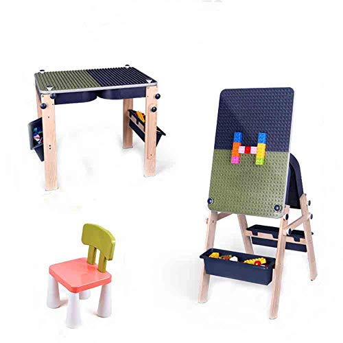 VBARV Kids Activity Table Set with Artboard, 2-in-1 Children's Multi-Functional Building Table,with Storage and Built in Plate, with 1 Stools,for Boys Girls Best Gift for 1-5 Years Old Kids