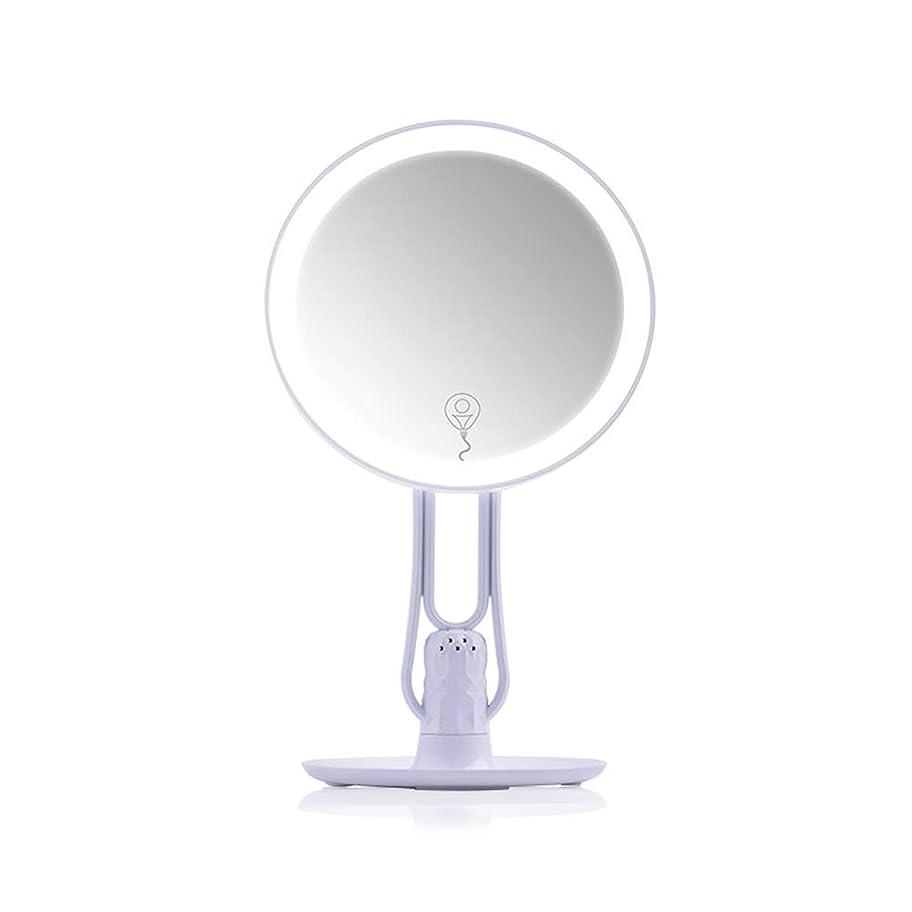 談話助けになる気性片面化粧鏡ラウンドledギフトミラーデスクトップ付き収納ミラーホーム化粧鏡化粧台ミラー (Color : White, Shape : Heart shaped)