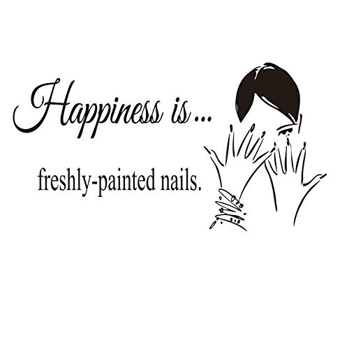 Nail Art Wall/Window Sticker -Happiness is Freshly Painted Nails Vinyl Decal Nail Salon Quote Wall Sticker Nails Art Polish Wall Decoration Manicure Vinyl Art (57X30CM, BLACK-Y116)