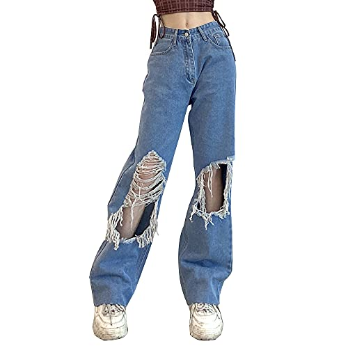 Hongsuny Womens Ripped Jeans Baggy Y2k High Waisted Pants Wide Leg Denim Jeans Straight Casual Loose Baggy Trousers Summer Vintage E-Girl Streetwear