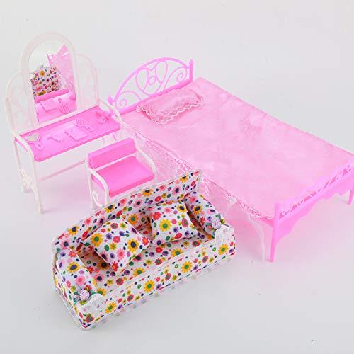 Prinses Meubels Set Poppenhuis Accessoires Kit Kids Gift 8 Stuks/Partij 1Xdresser Set + 1X Bankstel + 1Xbed Set + 5X Hangers Voor Pop