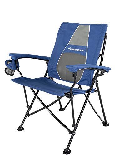 STRONGBACK Elite Blau – Ergonomischer Camping Faltstuhl mit Lordosen Stütze, 60cm breitem Sitz, Armlehne, Getränkehalter