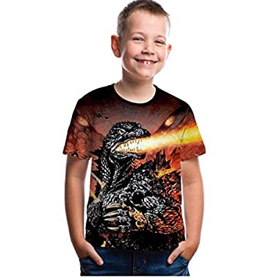 CHOICE99 Boys Cartoon Monster Shirt Kids t-Shirt 3D Printing Shirt for boy Girl Summer Tops tee Brown