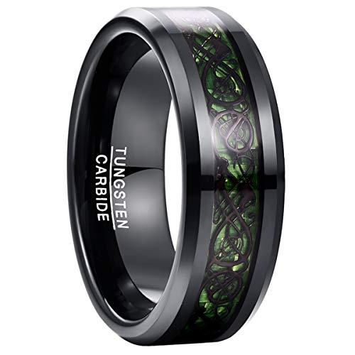 NUNCAD Unisex Ring Paare Wolfram mit Keltischen Drachen + Kohlefasern Blassrot für Hochzeit Valentinstag Trauung Party 61(21)