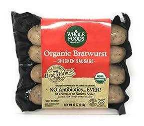 WHOLE FOODS MARKET Organic Bratwurst Chicken Sausage, 12 OZ
