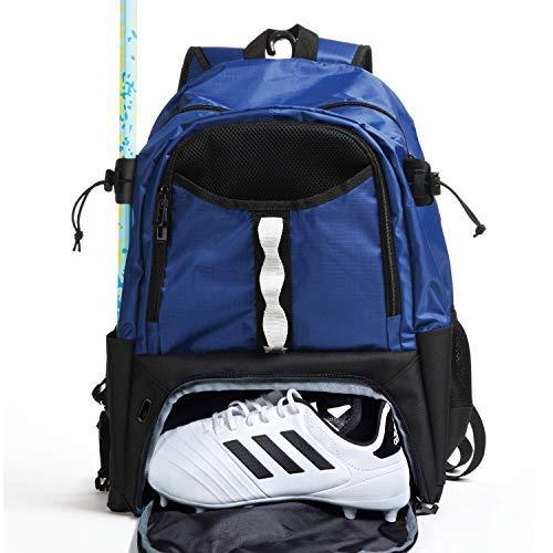 Athletico Jugend Lacrosse Bag – Extra großer Lacrosse Rucksack – für alle Lacrosse oder Feldhockey-Ausrüstung – Zwei Stockhalter und separates Steckfach, blau