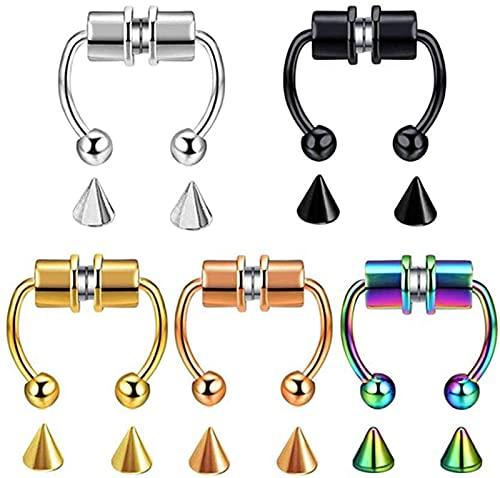 Anillo magnético para la nariz, reutilizable, anillo para la nariz, anillo falso, anillo magnético para el septum, para mujeres y hombres, accesorios de joyería (5 unidades), Laca,