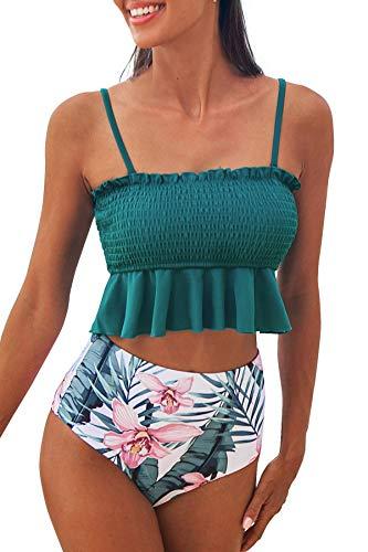 CUPSHE Damen Bikini Set mit Tropischem Blätterprint Bandeau Gesmokte Bademode Rüschen High Waist Zweiteiliger Badeanzug Blaugrün L