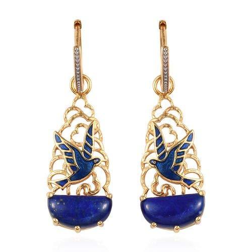 GP Lapis Lazuli, Kanchanaburi Blue Sapphire Bird Hoop Earrings for Women in Enamelled & 14ct Gold Plated Sterling Silver, 12.25 Ct
