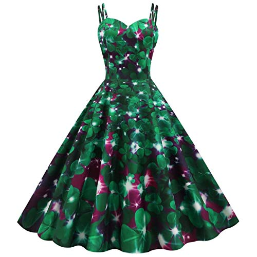St. Patrick's Day Women Shamrock Evening Print Party Prom Strap Big Swing Dress