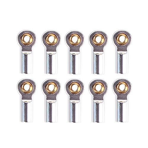 CUHAWUDBA 10 StüCke Metall M3 Link Spur Stangen Kopf Kugelgelenk für 1/10 RC Auto Crawler AXIAL SCX10 D90 D110 CC01, Silber
