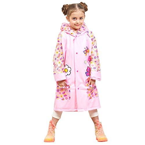 Lau's Chubasquero niña con Capucha - Abrigo Impermeable Chaqueta de Lluvia con Estampado Animal 5-6 años