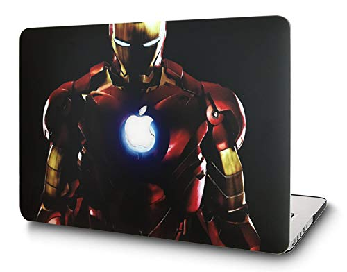 L2W Hülle Für Apple MacBook Pro Neu 13,3 Zoll Mit Touch Bar Modell A1989/A1706/A1708 Laptop Computer Zubehör Plastik Drucken Schutz Cover kreatives Design Hart Case Tasche,Ironman