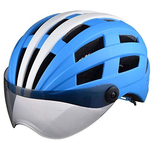 Blanco y Azul Bluebiciclo Casco de Ciclismo 26 Ventilaciones Fluorescencia y Gafas de Gafas Racing Ligero Ligero Afile Ciclo Casco Casco Equipo de Montar Montar Nets.Night Bright