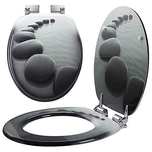 Bakaji Universal-WC-Sitz mit Siebdruck, WC-Sitz für Badezimmer aus MDF-Holz mit rechteckigen Scharnieren aus Zinklegierung, modernes Design, Größe 43,5 x 37,5 x 5 cm (Steine Zen)