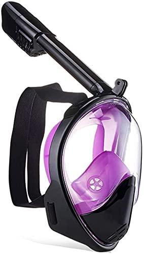Mascara Buceo Mascarilla de Buceo Buceo Anti-Niebla Gafas de natación Equipo de Snorkel de Secado Completo 180 ° Campo de visión (Color : Black Purple, Size : L/XL)