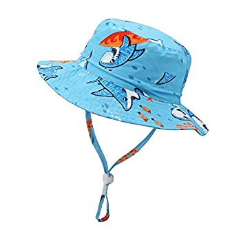 jerague Kids Toddler Baby Summer Bucket Sun Hat Breathable Adjustable Fisherman Hats  0-6 Months Blue/Shark