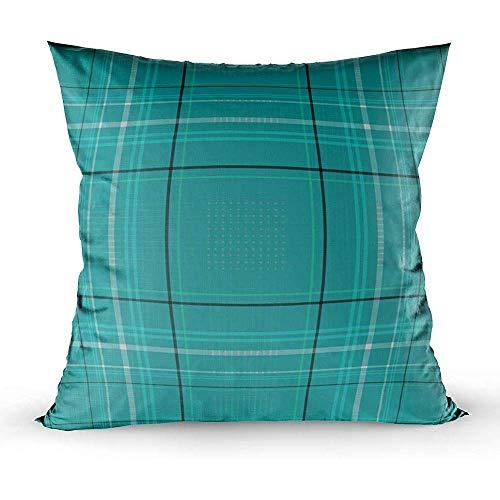 Ducan Lincoln Pillow Case 2PC 18X18,Kissenbezüge,Quadratische Kissenbezüge Tartan Traditional Chequered British Fabric Pattern Beidseitiges Kissen