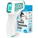iProven No Touch Thermometer for Adults, Kids and Babies, Touchless Thermometer, 1s Instant Accurate Readings, Forehead Infrared Thermometer with Fever Alarm, Indoor, and Outdoor Use (Green)