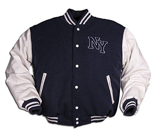 Mil-Tec NY Baseball Jacke mit Patches (Navy/Weiß/L)