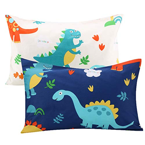 UOMNY Kids Toddler Pillowcases 2 Pack 100% Cotton Pillow Cover Pillowslip Case Fits Pillows sizesd 13 x 18 or 12x 16 for Kids Bedding Pillow Cover Baby Pillow Cases Dinosaur Kids' Pillowcases