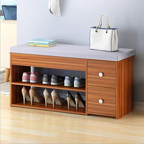 Estante del Zapateros Zapato banco del estante con cojín del asiento, el zapato de madera estante de almacenamiento Organizador con 2 cajones, for Recibidor, Sala, Puerta de entrada ( Color : A )